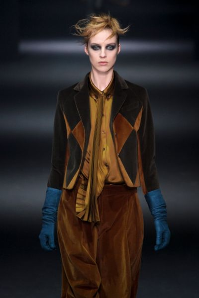 John Galliano Fall 2012 Gold Shirt WIth Pleated Placket in Gold - Lyst