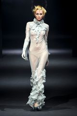 John Galliano Fall 2012 Ruffle Neck Sheer Gown