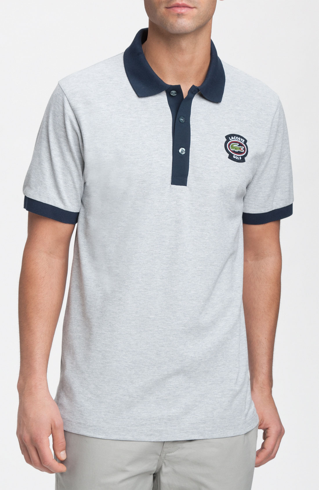 lacoste golf polo shirt in gray for men lyst