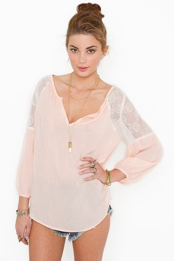 Nasty Gal Jardin Lace Blouse - Blush - Lyst