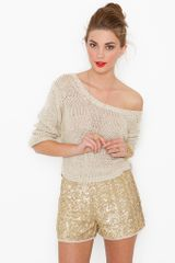 Nasty Gal Gold Dust Sequin Shorts - Lyst