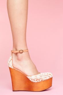 Nasty Gal Bette Platform Wedge - Ivory - Lyst