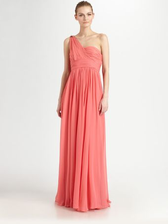 Notte By Marchesa Asymmetrical Silk Gown - Lyst