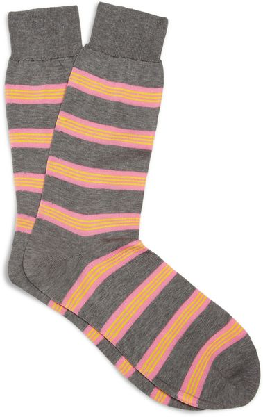 Richard James Striped Cotton Socks in Gray for Men - Lyst
