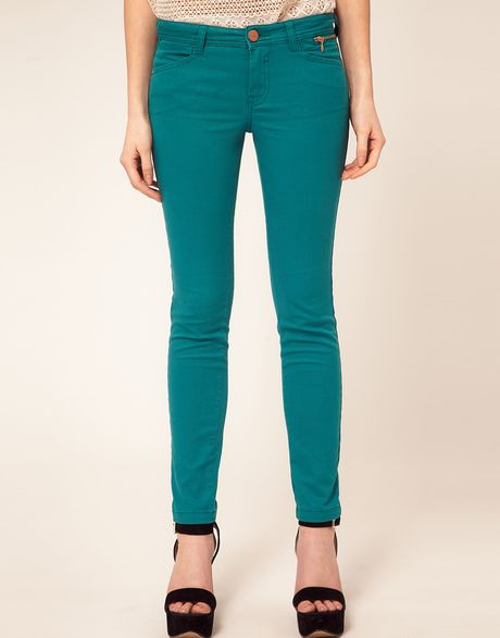 River Island Jade Coloured Jean in Green (teal) - Lyst