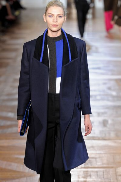 Stella Mccartney Fall 2012 Long Blue Coat with Striped Bomber Collar and Oversized Lapels in Blue - Lyst