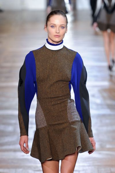 Stella Mccartney Fall 2012 Geometric Appliquè RuffleHem Mini Dress in Blue - Lyst