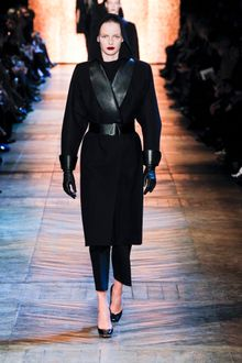 Yves Saint Laurent Fall 2012 Leather Trimmed Wool Coat - Lyst