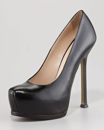 Yves Saint Laurent Tribtoo Textured Patent Pump - Lyst