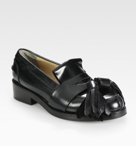 Acne Leather Oversized Tassel Loafers in Black - Lyst