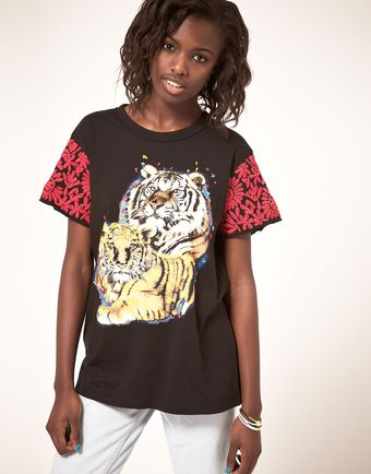 ASOS Collection Asos Tiger T-shirt with Embroidered Sleeve - Lyst