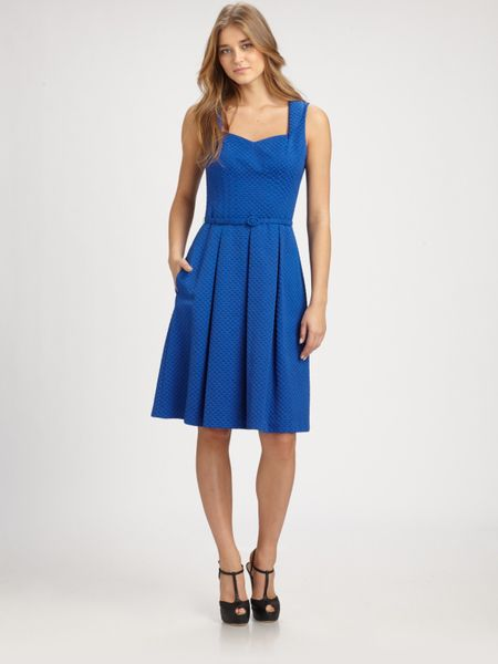 David Meister Belted Dress in Blue - Lyst