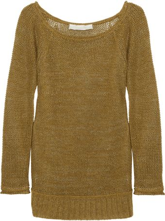 Donna Karan New York Metallic-Weave Open-Knit Linen-Blend Sweater - Lyst