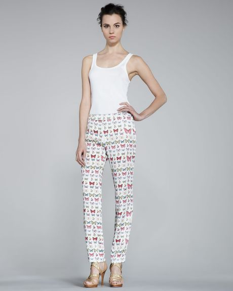 Erin Fetherston Skinny Butterflyprint Pants in Multicolor (multi colors) - Lyst