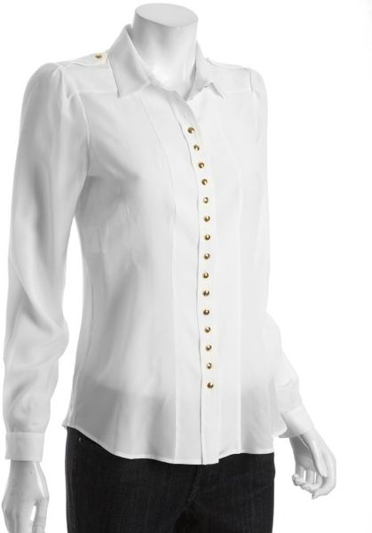 Gucci Ivory Silk Chiffon Button Front Blouse in White (ivory) - Lyst