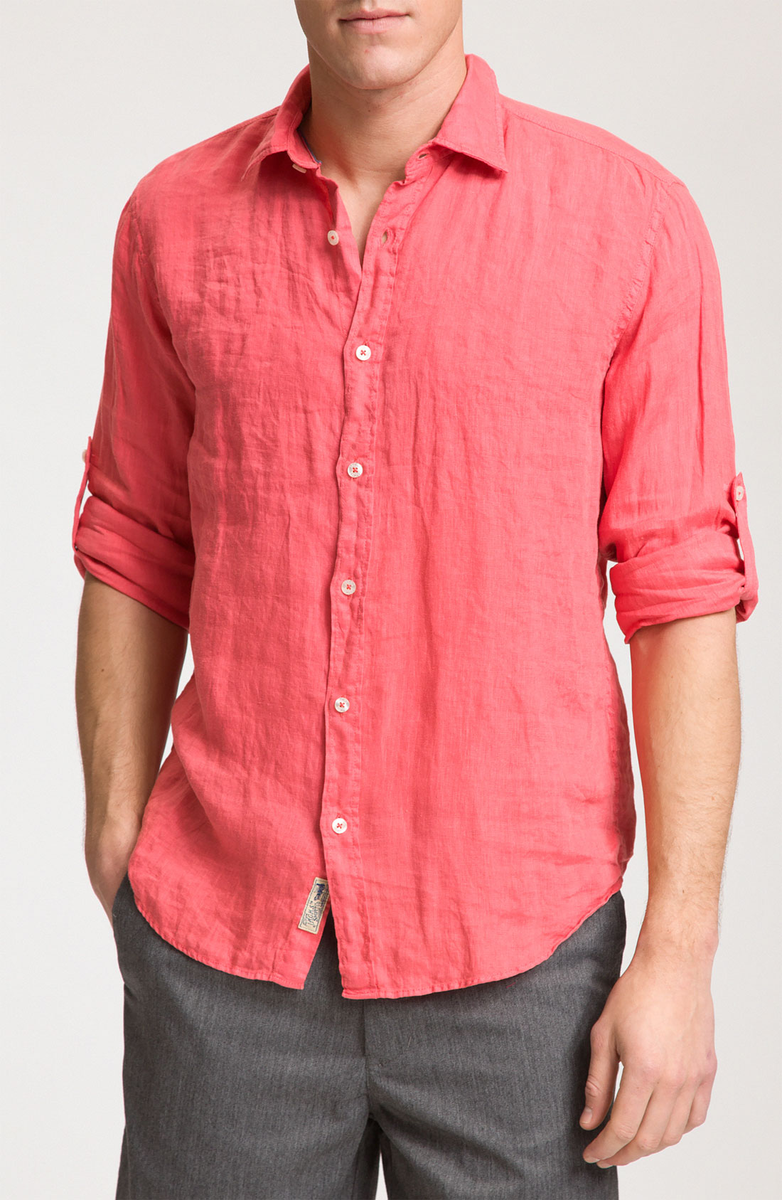 just a cheap shirt long sleeve linen shirt in pink for men