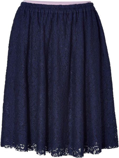 no 21 midnight blue lace skirt in blue midnight lyst