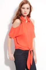 Parker Cutout Shoulder Tie Front Shirt - Lyst