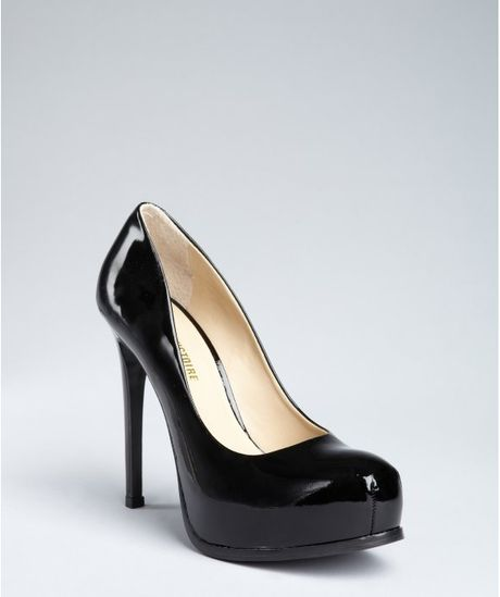 Pour La Victoire Black Patent Leather Hidden Platform Pumps in Black - Lyst