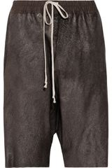 Rick Owens Metallic Leather Shorts - Lyst