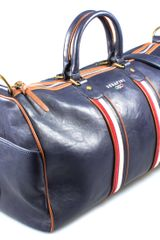 Serafini Tennis Bag Blue Letaher France in Blue for Men - Lyst
