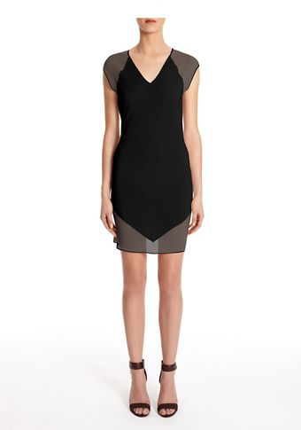 Alexander Wang Mesh Silk Combo Sheath Dress - Lyst