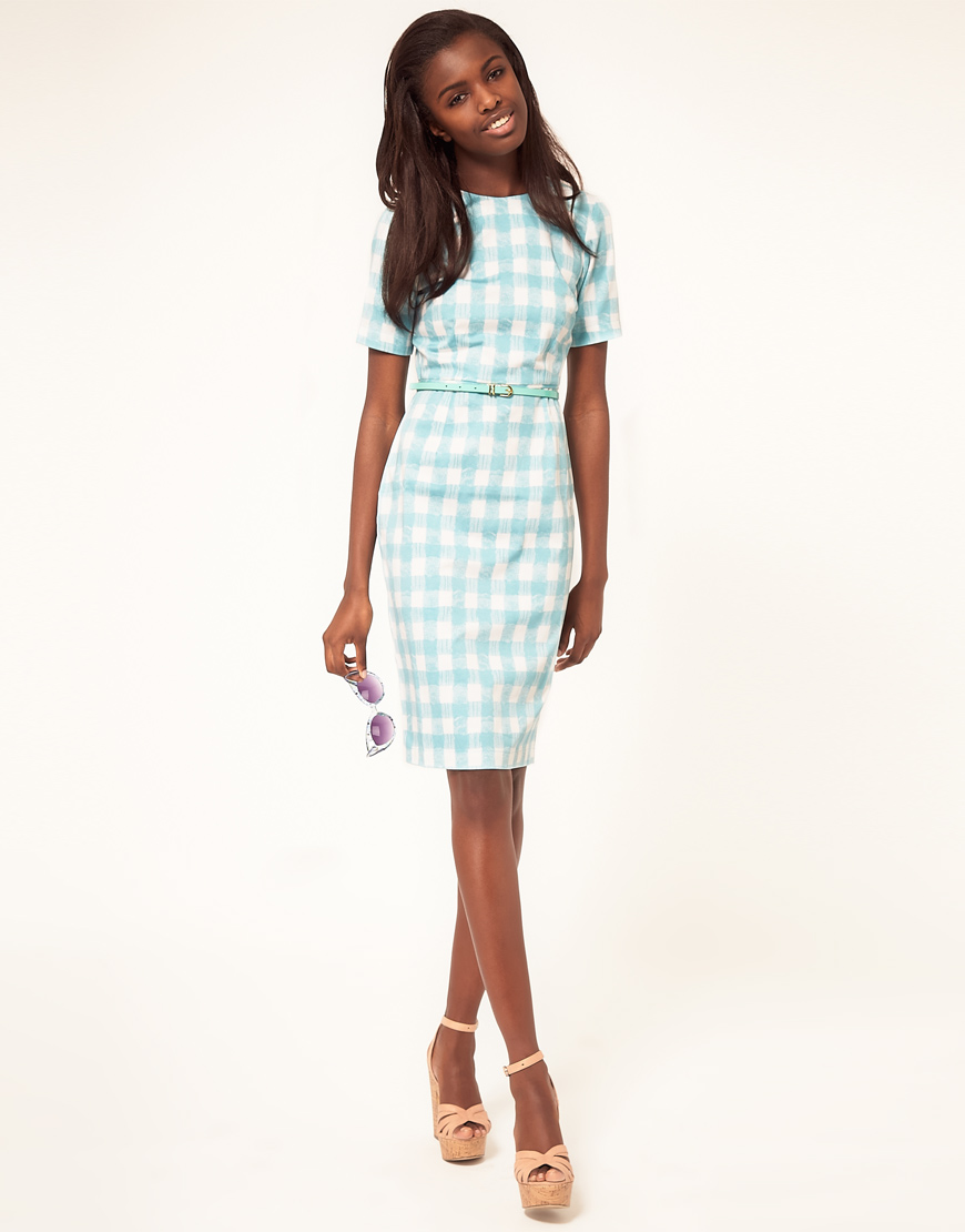 Asos collection Asos Pencil Dress in Pastel Gingham in Blue | Lyst