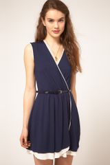 ASOS Collection Asos Wrap Dress with Contrast Skirt and Belt - Lyst
