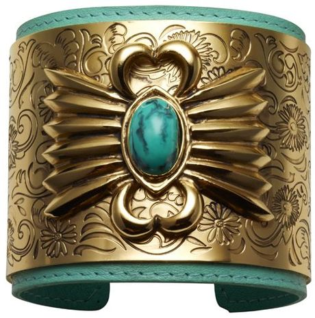 Aurelie Bidermann Leather Navajo Cuff in Gold