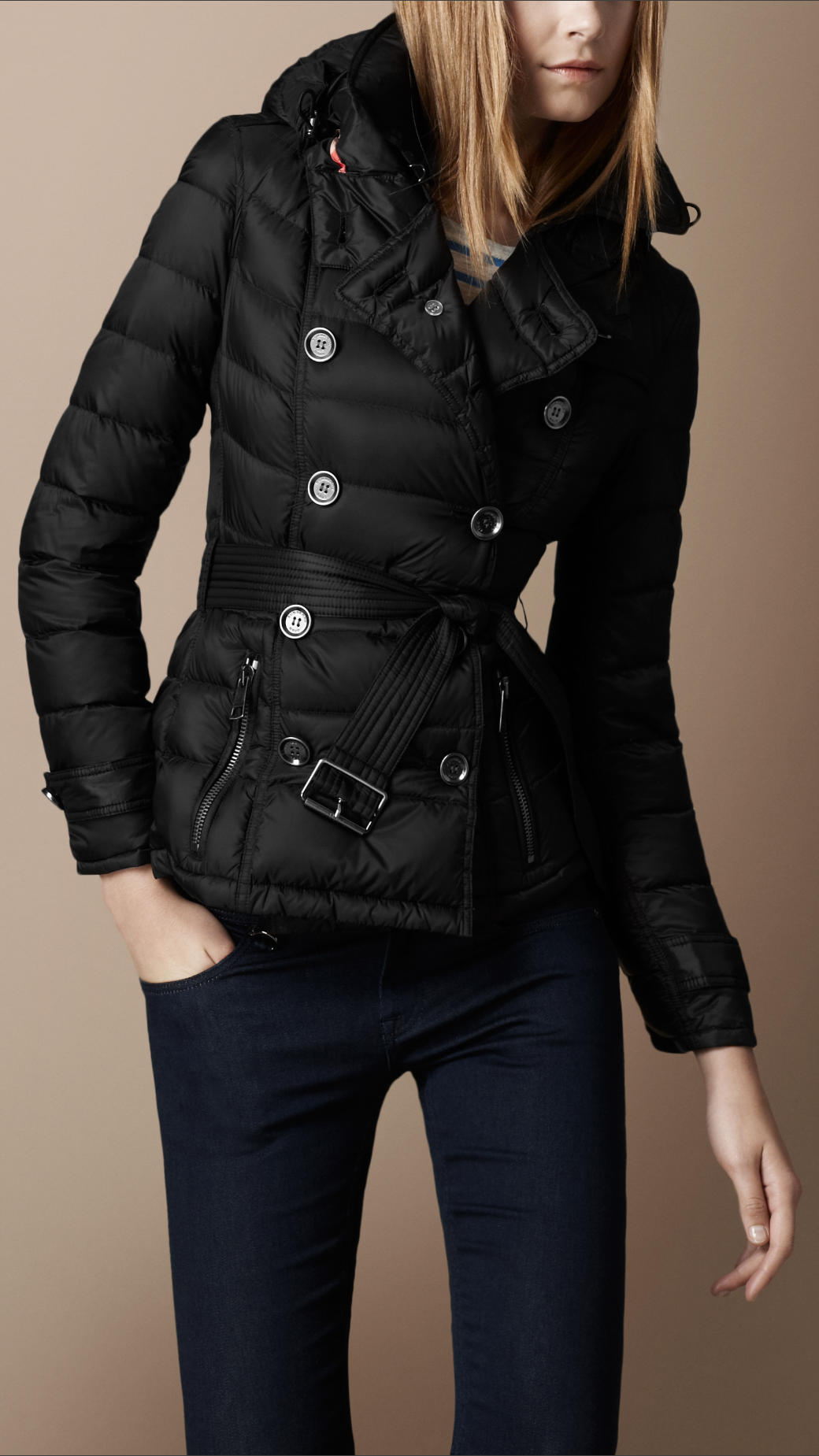 Lyst Burberry Brit Down Filled Hooded Jacket In Black