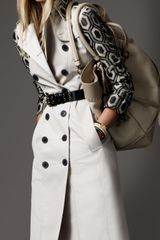 Burberry Long Patterned Sleeve Trench Coat