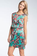 Jessica Simpson Button Sleeve Satin Dress - Lyst