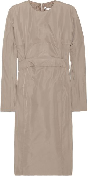 Jil Sander Wardrobe Satintwill Dress in Brown (taupe) - Lyst