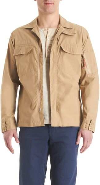 Nigel Cabourn Zip Front Shirt Jacket in Beige for Men (khaki) - Lyst