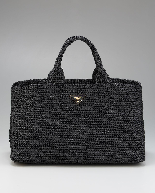 0ffccc7a7956 ... inexpensive lyst prada raffia tricot tote in black c30dd 7b8b1