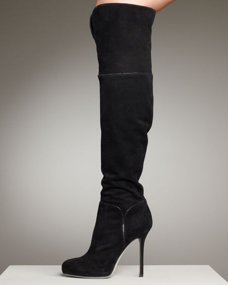 sergio suede the knee boot in black lyst