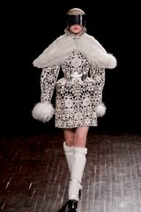 "Alexander Mcqueen Fall 2012 Long Black Leather Coat Endowed with ""Doilies"" of White LaserCut Ponyskin  in Black (black, white) - Lyst"