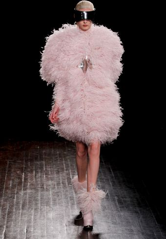 Alexander McQueen Fall 2012 Ostrich Feather Adorned Coat  - Lyst