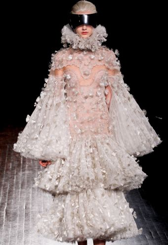 Alexander McQueen Fall 2012 Multilayered Dress with Trumpet Sleeves and Fan Applique Detail  - Lyst