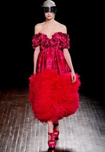 Alexander McQueen Fall 2012 Strapless Dress with Rosette Bodice and Ostrich Trim  - Lyst