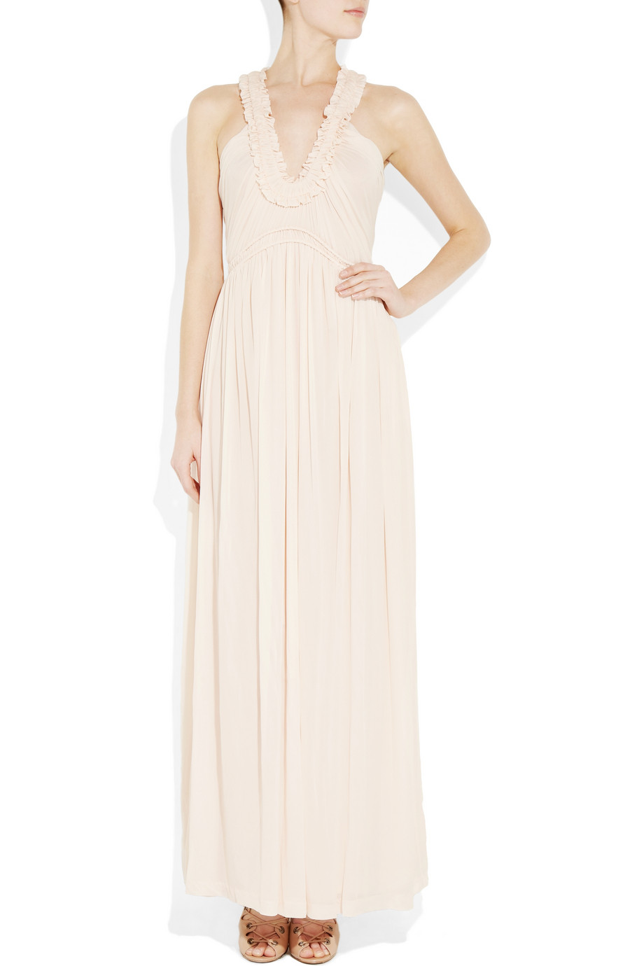 Lyst Alexander Mcqueen Ruched Crepe Jersey Gown In Natural