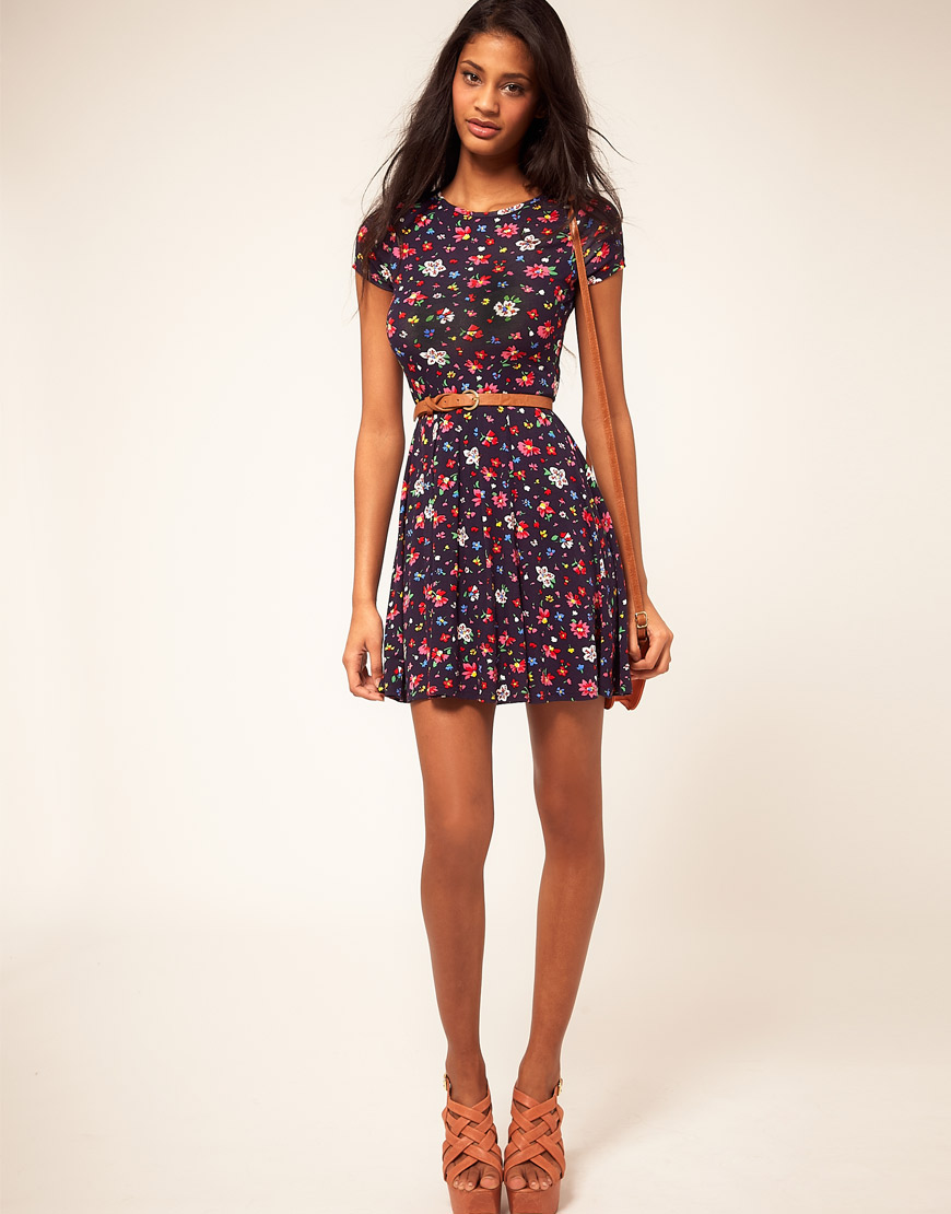 Asos collection Asos Skater Dress in Ditsy Floral in Blue ...