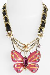 Betsey Johnson Hawaiian Luau Butterfly Statement Necklace - Lyst