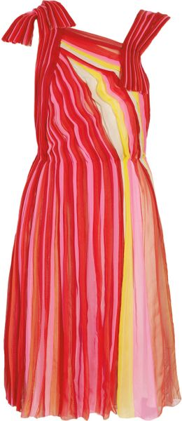 Bottega Veneta Plissé Silkchiffon Dress in Multicolor (multicolored) - Lyst
