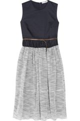 Carven Twill and Tweed Belted Dress in Blue (navy) - Lyst