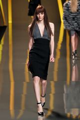 Elie Saab Fall 2012 DeepV Bodycon Dress in Gray (black) - Lyst