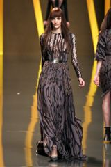 Elie Saab Fall 2012 Sheer Inset Bronze Tree Branch Print Gown in Brown (black, brown) - Lyst