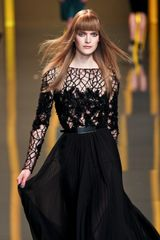 Elie Saab Fall 2012 Sheer Floral/Branch Inset Evening Gown in Black - Lyst