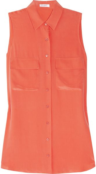 Equipment Signature Sleeveless Washed-silk Shirt - Lyst