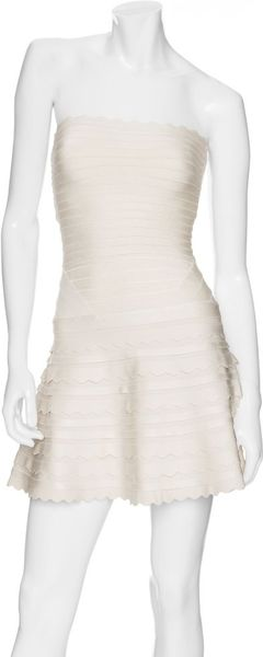 Hervé Léger Strapless Flared Bandage Dress: Ivory in White - Lyst